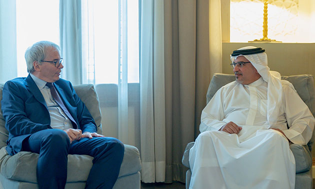 HRH the Crown Prince receives the President of the Movement of French Enterprises, Frédéric Sanchez